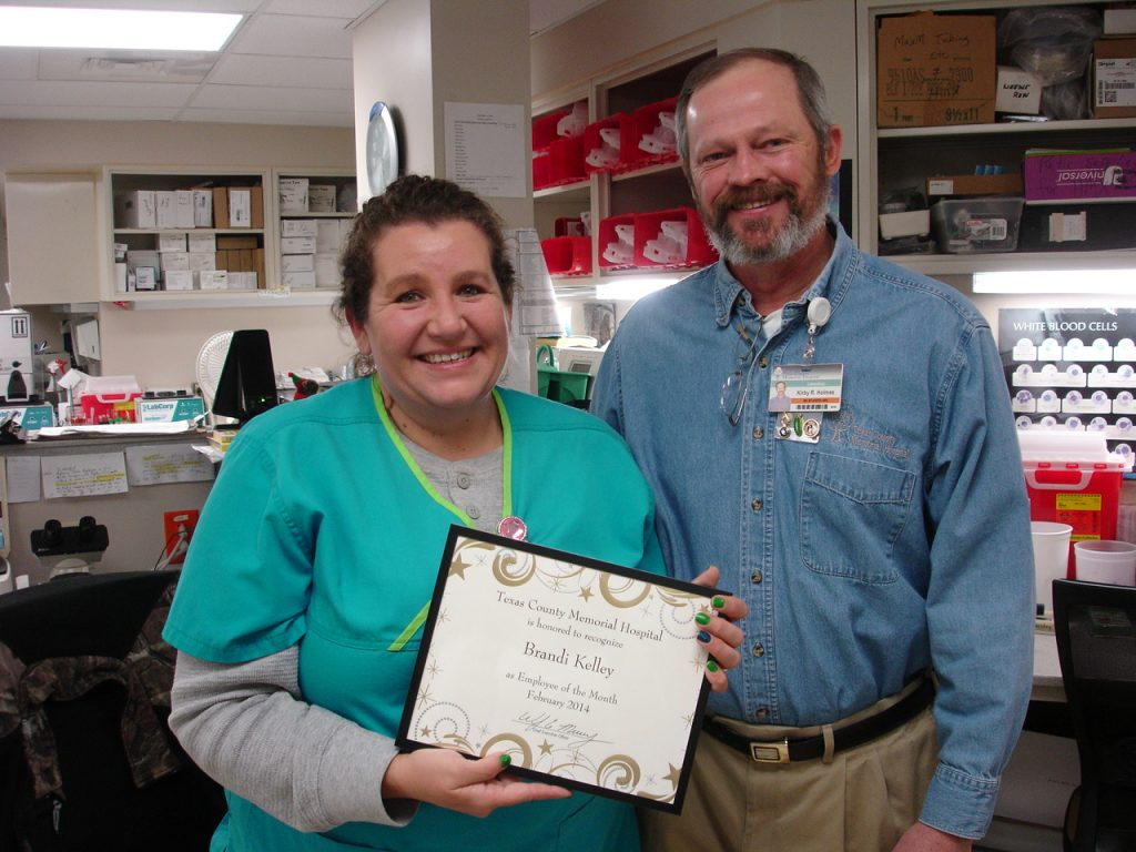 Brandi Kelley, the Texas County Memorial Hospital February employee of the month, is shown here with her supervisor, Kirby Holmes.