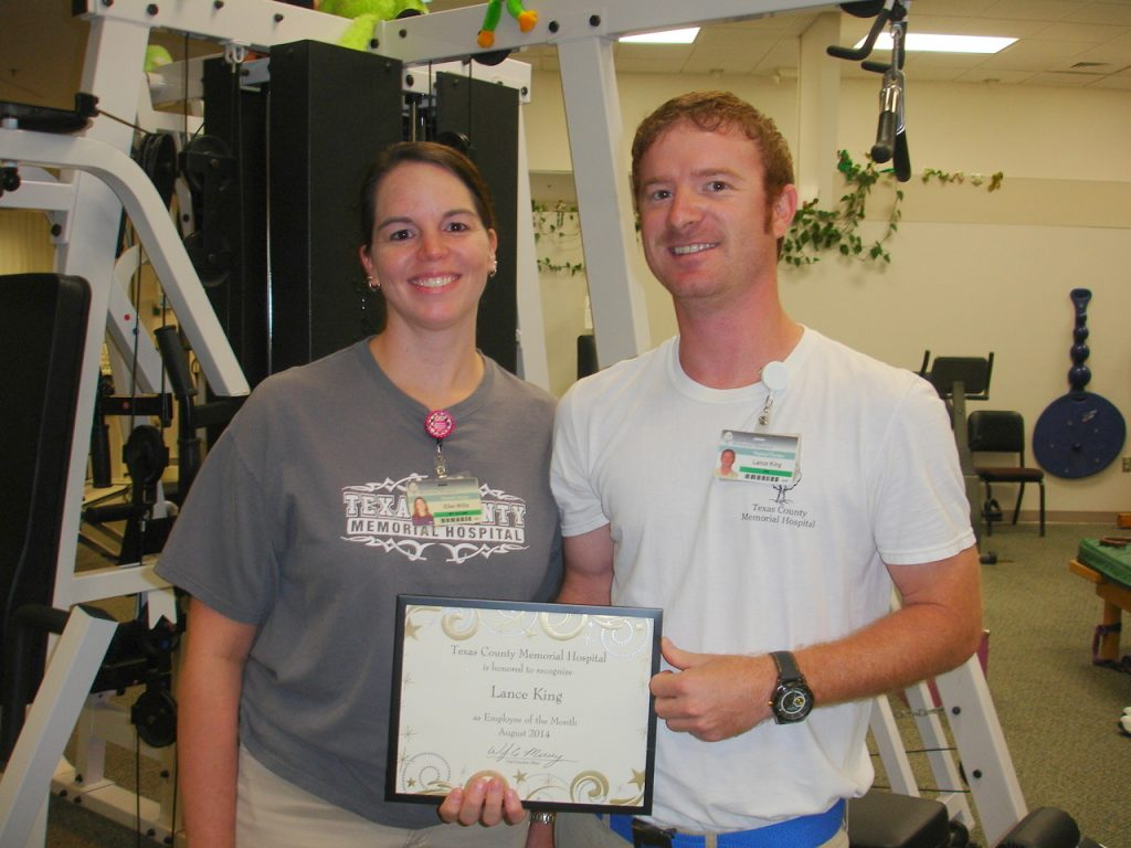 Lance King (right), Texas County Memorial Hospital August employee of the month, with his supervisor, Ellen Willis.