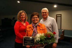 Cathy Stilley is shown here with Anita Kuhn, TCMH controller and Dr. Steve Hawkins.