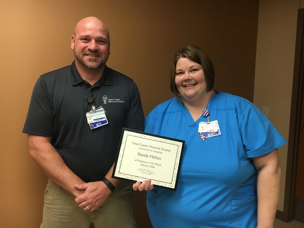Shanda Melton (right), Texas County Memorial Hospital February employee of the month, with her supervisor, John Sawyer.