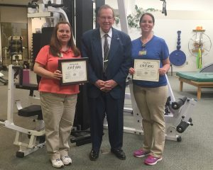Christie Koch, left, and Ellen Willis, right, have received their LSVT BIG certification.  Cabool resident and former Texas County judge, Brad Ellsworth, has worked with the TCMH physical therapy department for Parkinson's disease-related therapy, but he hopes to utilize the LSVT BIG therapy in the future.