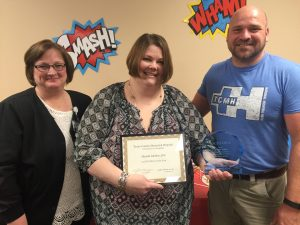 Shanda Melton (center) Texas County Memorial Hospital nurse of the year, with Doretta Todd-Willis (left), TCMH chief nursing officer, and John Sawyer, medical surgical department manager.