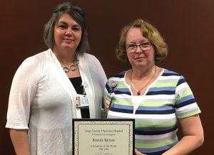 Brenda Barton (right) is the May employee of the month at Texas County Memorial Hospital. She's with her supervisor, Amanda Blaylock.