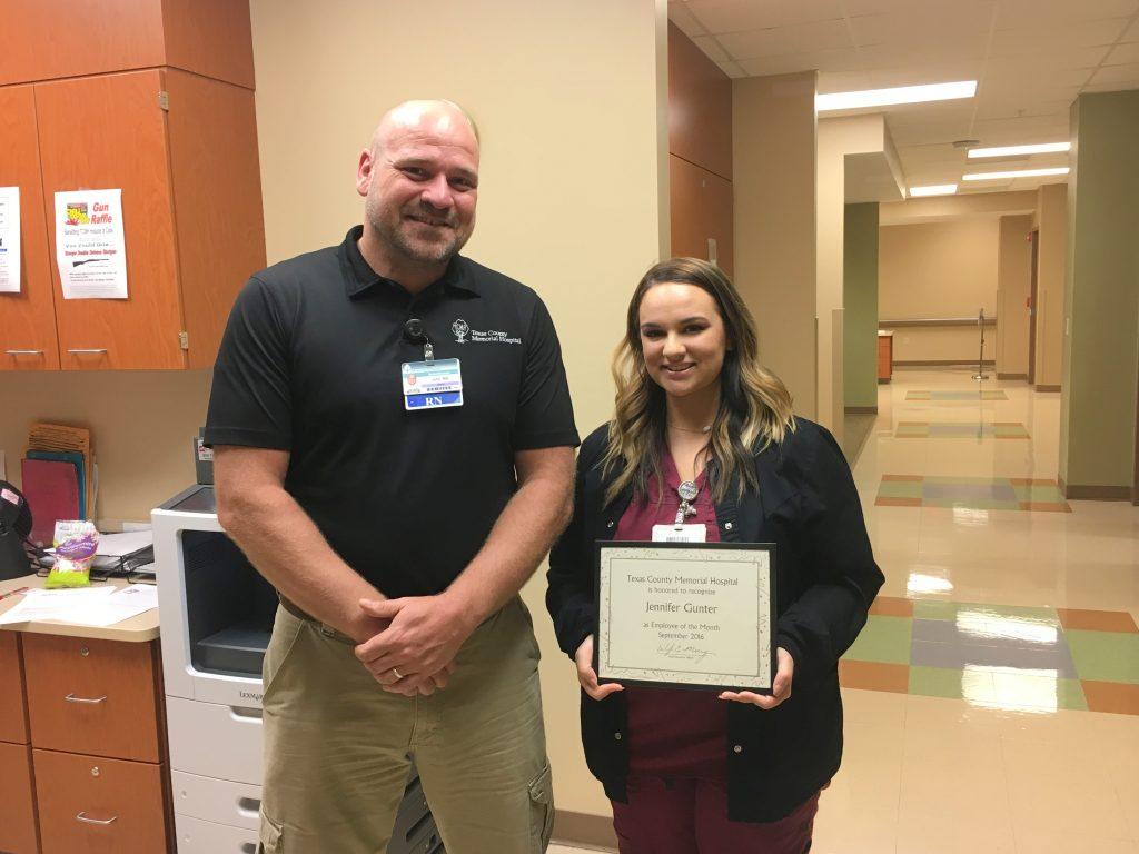 Jennifer Gunter (left), Texas County Memorial Hospital September employee of the month, with her supervisor, John Sawyer.