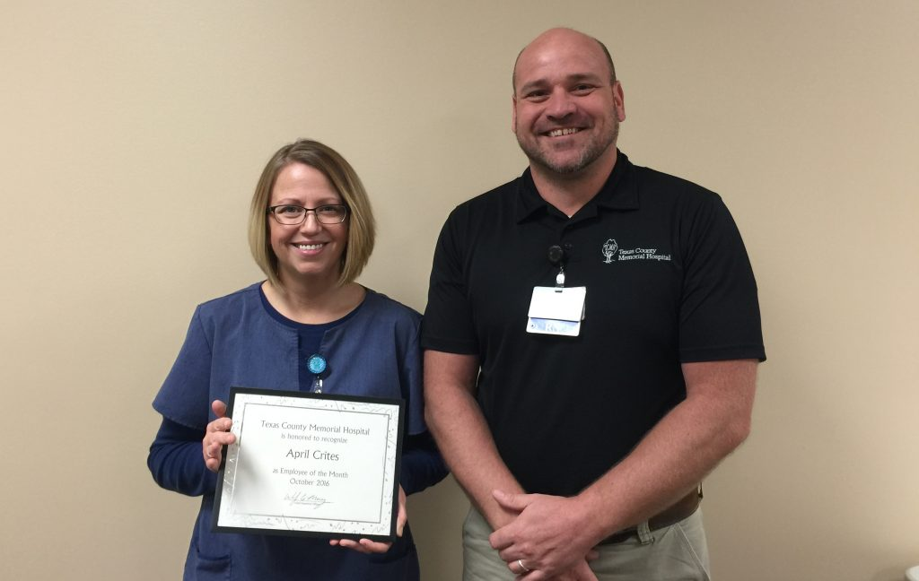 TCMH October employee of the month, April Crites (left), and her supervisor, John Sawyer.