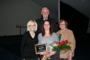 Ellen Willis, Texas County Memorial Hospital physical therapy department director, received the Manager of the Year honor at TCMH for 2016.  Shown here left to right, Linda Pamperien, chief financial officer, Willis, Doretta Todd-Willis, chief nursing officer, and (back) Wes Murray, chief executive officer.
