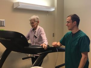 Doris Skaggs, the first patient in the new cardiopulmonary rehabilitation program at Texas County Memorial Hospital, exercises on the treadmill under the supervision of Matt Eskew, respiratory therapist.