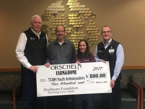 Orscheln Farm and Home made a $500 donation to the TCMH Healthcare Foundation Youth Ambassador Endowed Scholarship Fund which will be matched by Community Foundation of the Ozarks at Give Ozarks Day in May.  Shown here with the ceremonial check are left to right: Wes Murray, TCMH CEO; Mike Rodr, Orscheln district manager; Jeannie Goins, Orscheln Houston store manager, and Jay Gentry, TCMH Healthcare Foundation director.