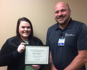 :  Bailey Walker is the Texas County Memorial Hospital February employee of the month, and she's here with her supervisor, John Sawyer.