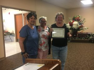 Belinda Woods, RN, was recognized for 25 years of service in in the US Army before becoming a nurse at TCMH.
